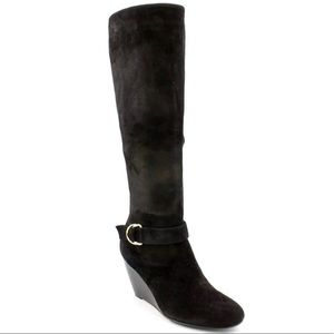 LAURA ASHLEY BLACK HIGH WEDGE KNEE BOOTS